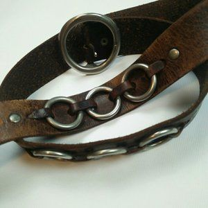 AE brass buckle leather belt with metal rings